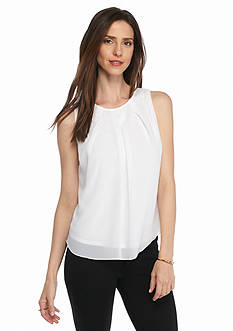 New Directions Petite Woven Overlay Top