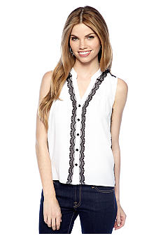 New Directions Petite Lace Button Down Top