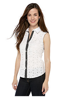 New Directions Petite Eyelet Polka Dot Button Down Top