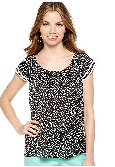 New Directions Petite Polka Dot Flutter Sleeve Top
