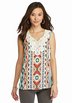 New Directions Petite Crochet Neck Aztec Print Top