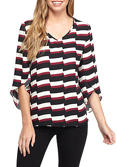 New Directions Petite Split Sleeve V Neck High Low Top