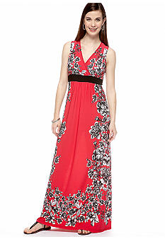 New Directions Petite Floral Mirror Print Maxi Dress