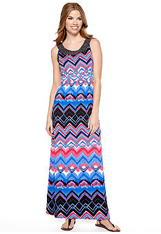 New Directions Petite Zig Zag Maxi Dress