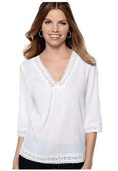 New Directions Petite V-Neck Top with Crochet Detail
