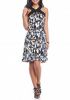 New Directions Petite Size Racerback Smudge Tile Print Dress