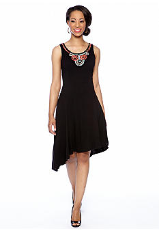 New Directions Petite Sleeveless Asymmetrical Dress with Embellished Neckline