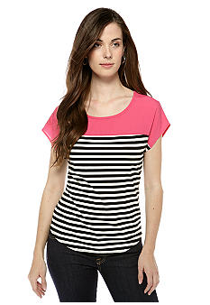 New Directions Petite Color Block Stripe Top