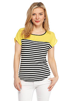 New Directions Petite Colorblock and Stripe Top