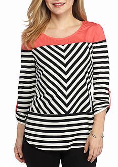 New Directions Petite Striped Top
