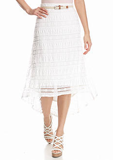 New Directions Petite High Low Lace Skirt with Belt