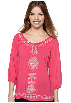 New Directions Petite Three Quarter Sleeve Embroidered Top
