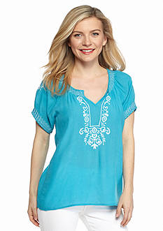 New Directions Petite Embroidered Peasant Top