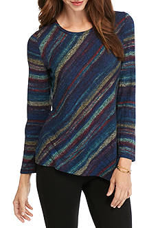 ND New Directions Pieced Stripe Rib Hacci Top