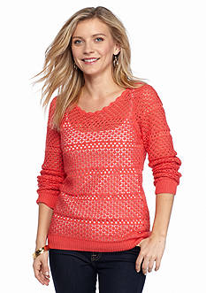 New Directions Petite Open Stitch Sweater With Cami