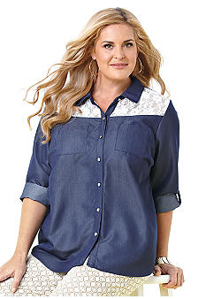 New Directions Plus Size Denim Top with Lace