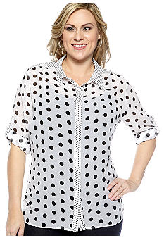 New Directions Plus Size Polka Dot Equipment Shirt