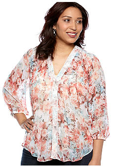 New Directions Plus Size Floral Pleat Front Blouse