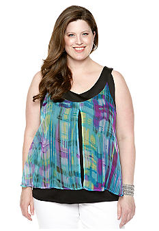 New Directions Plus Size Split Front Tank