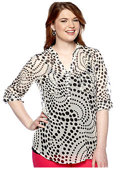 New Directions Plus Size Mixed Dot Henley Top