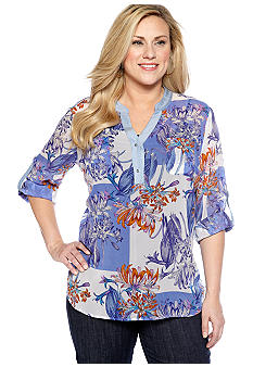 New Directions Plus Size Floral Print Chiffon Blouse