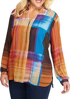 New Directions Plus Size Printed High Low Hem Top