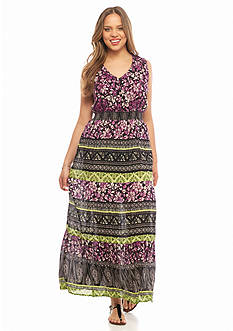 New Directions Plus Size Printed Crepe Maxi Dress