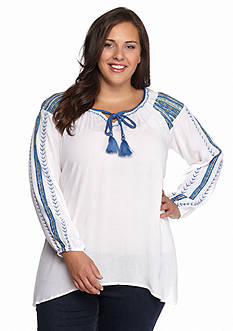 New Directions Plus Size Embroidered Crepe Top