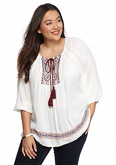 New Directions Plus Size Embroidered Peasant Top