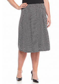 New Directions Plus Size Dot Print Flare Skirt