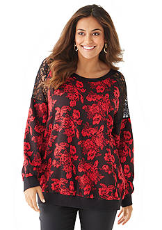 New Directions® Plus Size Embellished Floral Sweatshirt