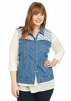 New Directions Plus Size Crochet Trim Denim Vest