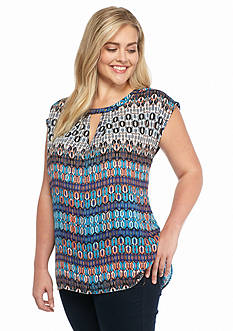 New Directions Plus Size Printed Embellished Top