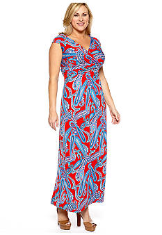 New Directions Plus Size Cummerbund Maxi Dress