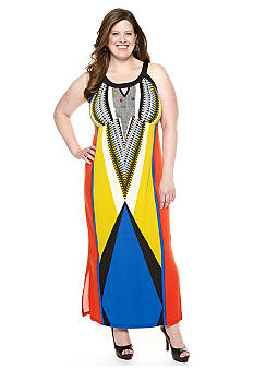 New Directions Plus Size Diagonal Colorblock Maxi Dress