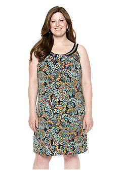 New Directions Plus Size Scroll Print Dress