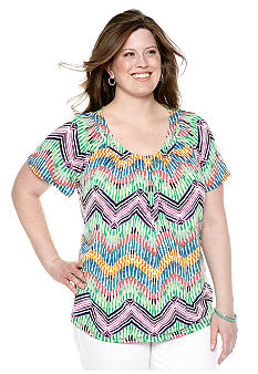 New Directions Plus Size Zigzag Print Top
