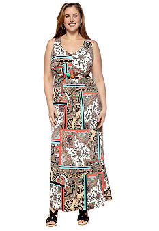 New Directions Plus Size Paisley Print Maxi Dress