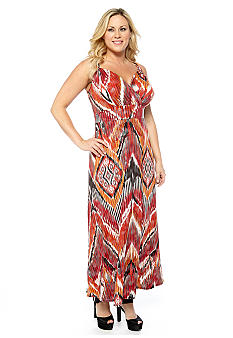 New Directions Plus Size Self Knot Printed Maxi Dress