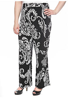 New Directions Plus Size Wide Leg Printed Pant