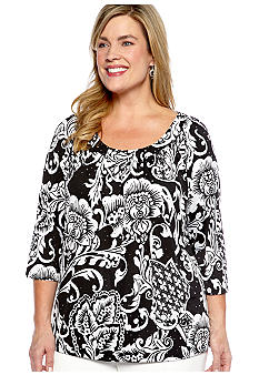 New Directions Plus Size Printed Top