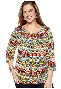 New Directions Plus Size Printed Wave Top