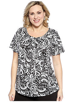 New Directions Plus Size Printed Chain Neck Top