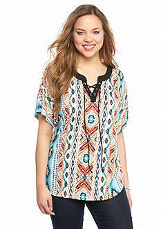 New Directions Plus Size Aztec Print Lace-Up Top