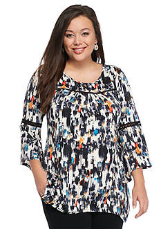 New Directions Plus Size Crochet Inset Printed Top