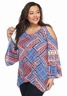 New Directions Plus Size Cold Shoulder Printed Top