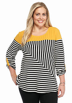 New Directions Plus Size Stripe Top
