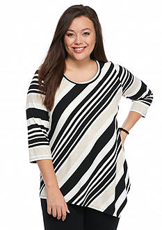 New Directions Plus Size Stripe Asymmetrical Hem Top