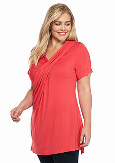 New Directions Plus Size Draped Front Top