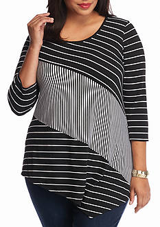 New Directions Plus Size Pieced Stripe Top